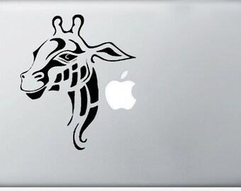 Giraffe DECAL- macbook iPad computer- Gadget Art / Accessory - animal skin tropical africa