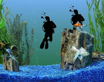 2 small Scuba Divers DECAL- fish tank - ocean water padi