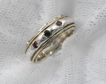 Sterling silver gold tourmaline ring (gsr-7121). romantic gift for her, birthday gift for her, tourmaline jewelry