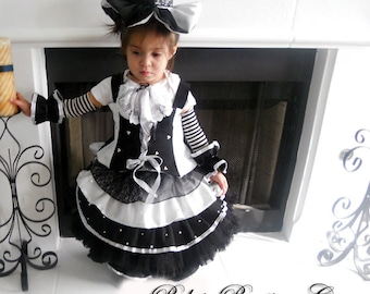 Pageant Sassy Glitz OOC Pirate Girl black white attire Moster high French casual wear talent wear baby girl toddler custom 12m up to 10 yrs