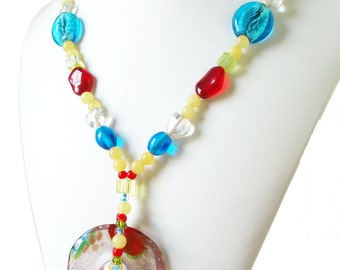 Glass Necklace, Multi Colored Necklace, Lampwork Glass