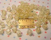 50 Plastic Dice Beads 6mm Transparent Clearish / Pale Yellow