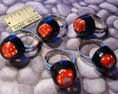 ONE Vintage Domed Lucite Dice Adjustable Ring Old Store Stock - Bubble Encased Dice - Retro