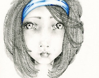 Drawing of a Girl OOAK Original Drawing Illustration Beautiful Face Unique Original Art for Home Fine Art For Her Pencil Drawing
