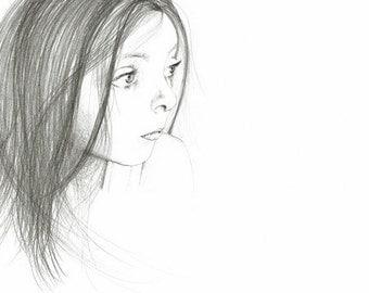 Minimalist Drawing of a Girl Fine Art Giclee Print of My Original Drawing Illustration Girl Melancholy Look Minimalist Wall Art Black White