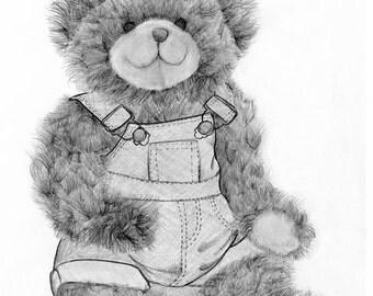 Teddy Bear Drawing Fine Art Giclee Print of My Original Teddy Bear Illustration Teddy Bear Art Print Teddy Bear Print Boys Room Nursery Room