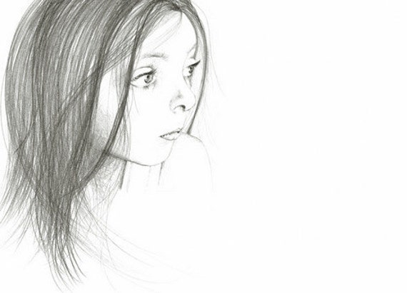 Pencil Drawing Fine Art Giclee Print of my Original Pencil Drawing Illustration Minimalist Print Pencil Drawing of a Girl