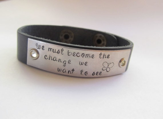 Personalized Leather Cuff -  Mens - Womens - Friend - Names - Couples - Quote - Date - Custom - Hand Stamped - Engrave - Black - Bracelet