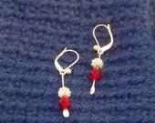 Valentine's Day Earrings dangle earrings silver earrings red earrings light weight earrings 1 inch earrings czech bead earrings gift present