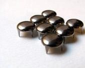 50 Large Gunmetal Black Silver Round Nailhead Studs - 10mm