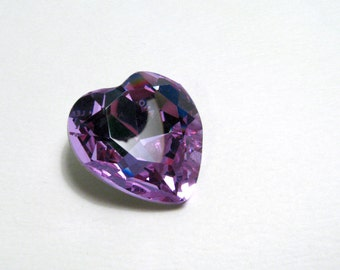 ALEXANDRITE - Large Color Changing Purple, Blue, & Aqua Heart Shaped Crystal - 28mm Jewelry Supplies