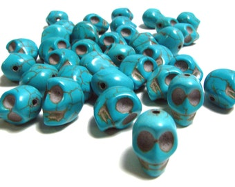 15 Small Bright Turquoise Day Of The Dead Sugar Skull Beads - Dyed Howlite Tuquoise - 10mm / 3/8 Inch