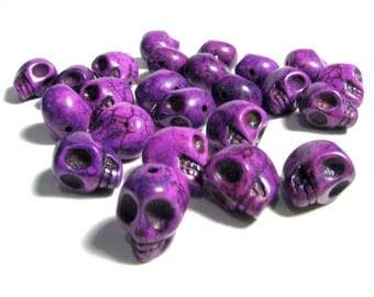 15 Small Bright Orchid Purple Day Of The Dead Sugar Skull Beads - Dyed Howlite Tuquoise - 10mm / 3/8 Inch