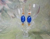 Gold OOAK, Blue Swirl Faceted Nugget Glass Beadwork Dangle Earrings with Silver and Gold Accent Beads