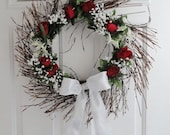 Floral Wreath, Grapevine Twig with Red Roses and White Ribbon