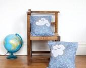 A Pair of Pygmy Rain Cloud cushions, 14 x 14 inch