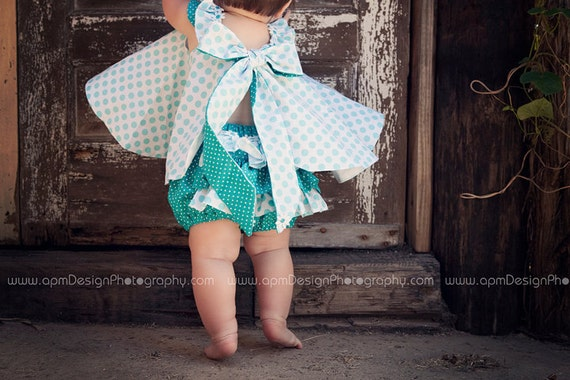 Childrens Clothing Girls Spring Twirl Dress & Ruffled Panties Newborn-18 mo Aqua ta dots 2 piece set-Girls Fashion