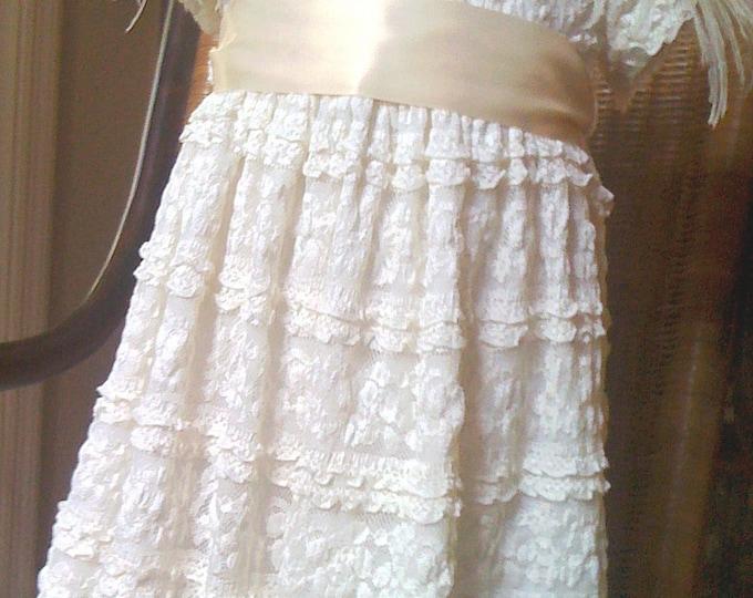 Flower Girl Toddler Dress Ivory Lace Dress size 12-18 months, 18-24 months  Christening Dress, Baptism dress, Party Dress
