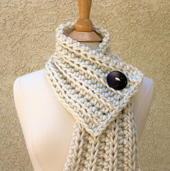 WEST BAY SCARF  - Warm, soft & stylish scarf with large brown coconut button - Cream