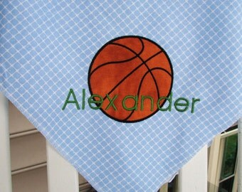 Personalized Sports Theme Baby Receiving/Swaddle Blanket, Basketball