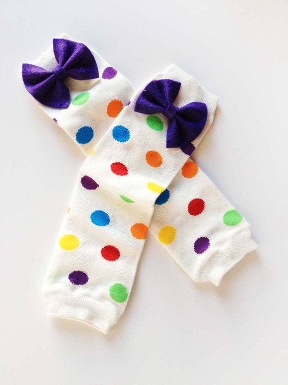Rainbow Polka Dots Infant Bow Leg Warmers: green, yellow, purple, turquoise, red, orange, white