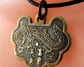 CHINESE necklace  /  dragon  phoenix COIN  Necklace  /   zodiac - china  No.00623