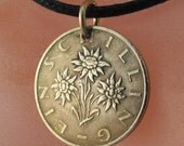 AUSTRIA coin necklace pendant charm Austrian schilling Edelweiss Flower jewelry CHOOSE YEAR shilling  No.00367
