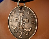 UK Tuppence necklace.  ENGLAND coin jewelry. coin necklace. pence  No.00819