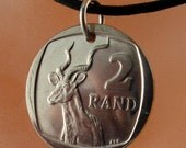Africa coin pendant jewelry //  SOUTH AFRICAN COIN necklace // rand Kudu. animal coin No.00716
