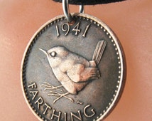 ENGLAND COIN NECKLACE  wren coin jenny coin bird charm pendant England sterling bail . Choose birth Year . personalize . No.00926