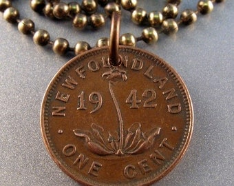 NEWFOUNDLAND coin necklace One Cent Penny. orchid. Ladyslipper. Canada Coin Charm Pendant. chain. vintage. choose year NO.00986