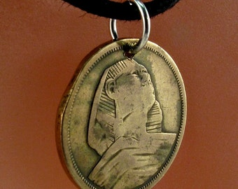 vintage EGYPT COIN NECKLACE pendant charm sphinx .brass .vintage egyptian jewelry. middle east  No.001045