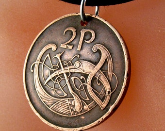 IRISH COIN Necklace Ireland coin celtic bird knot Pendant eire. 2p pence love knot . mens jewelry.  CHOOSE year No.001056