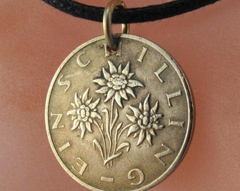 SOUND OF MUSIC necklace.  Austrian Edelweiss Flower . coin jewelry No.00367