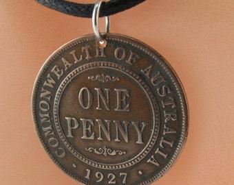 antique AUSTRALIA  penny necklace / antique coin /  penny charm pendant .No.001141