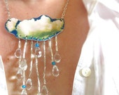Statement Necklace Women Cloud Rain Drops Bib Gardener Crystal Raindrop