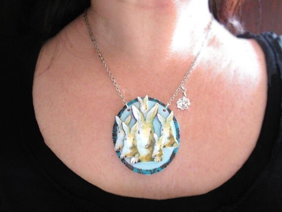 Easter Spring Bunny Rabbit and Babies Necklace with Swarovski Crystal Pastel Blue