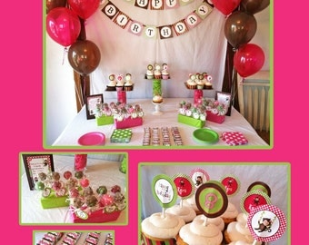 DIY Girl Monkey  Birthday  Deluxe Collection PRINTABLE Party Package Cupcake toppers Invitation pink green