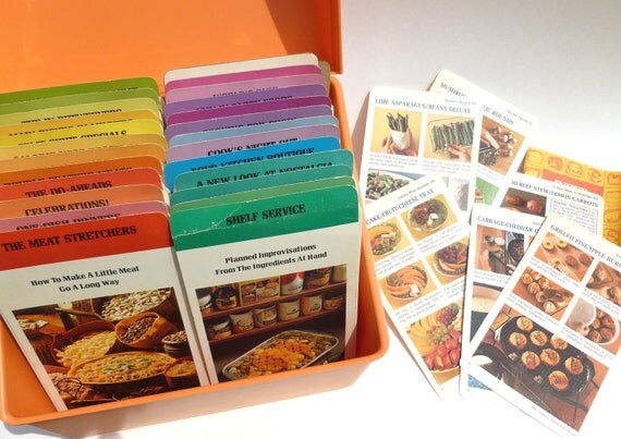 Betty Crocker Recipe Cards Library Step by Step 1975 1976 Edition in Orange Box for Family Meal, Entertaining, Party, Gift Planning