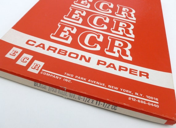 Carbon Tracing Paper Black from ECR in Original Red Box Industrial Office Supplies Copy Copies Typewriter Mid Century Mad Men Back to School