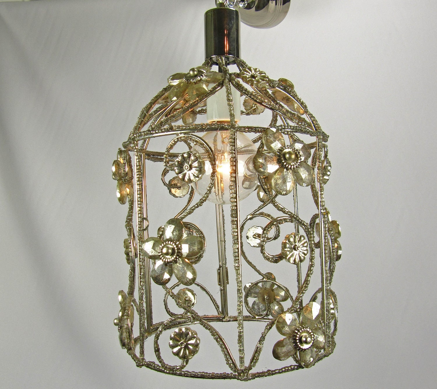 chandelier custom bird cage light nickel crystals by. Black Bedroom Furniture Sets. Home Design Ideas
