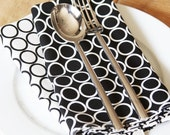 Black Napkins - Black and White with circles - Set of 4 Reversible Cloth