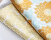 Fabric Napkins - Orange Crysanthymum - Set of 4 Reversible Cloth