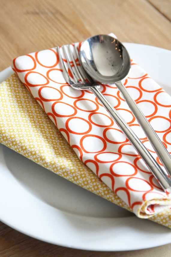 Cotton Napkins - White with Orange Circle and Yellow Modern Style - LAST SET available in this STYLE - Set of 4 Reversible Cloth