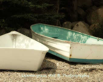 Beached Boats, Maine Photography, Fine Art Print, Turquoise, Sandy Beach, Cottage Decor, Coastal Wall Art, Skiffs, Rowboats, Dinghy