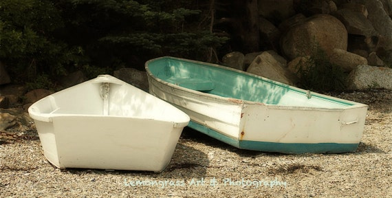 Beached Boats, Maine Photography, Prints, 8 x 16 + More, Turquoise, Sandy, Beach Cottage Decor, Coastal Wall Art, Skiffs, Rowboats, Dinghy