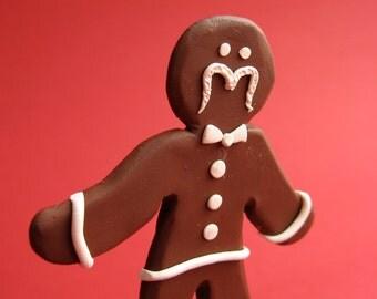 Gingerbread Man - OOAK Handmade Holiday Sculpture - Mustache