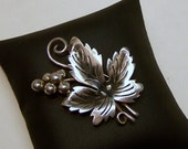 SALE-Take 20% Off- Signed RJP Mexican Sterling Grape Leaf Brooch- Free Shipping