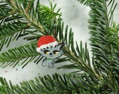 ornament, wood cat , santa hat, christmas, holiday, sparkle, hand painted, decoration