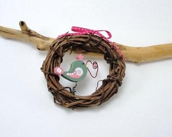 Pretty Bird, miniature, painted wood, grapevine wreath, ornament, green